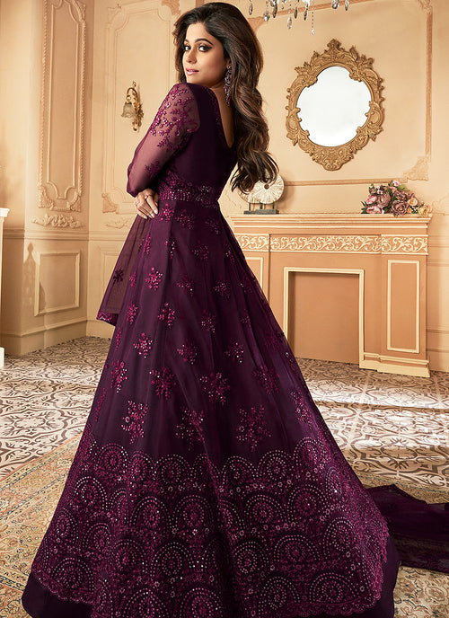 Indian Suits - Plum Purple Anarkali Suit In usa