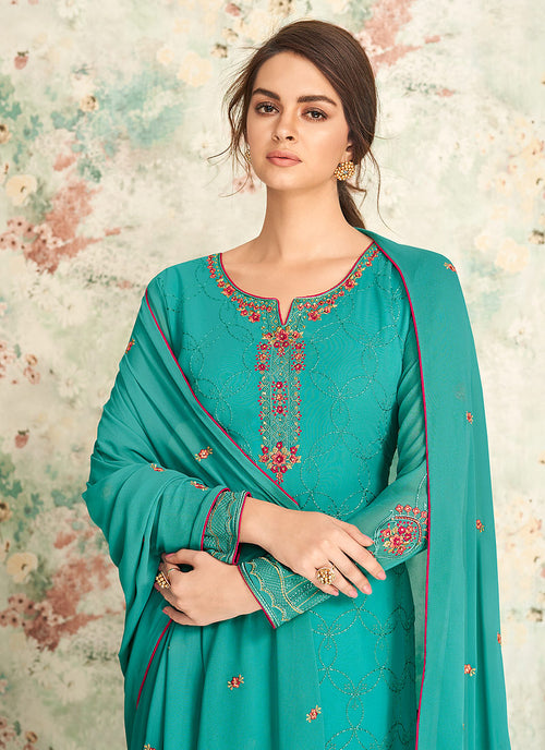 Indian Clothes - Aqua Blue Multi Embroidered Palazzo Suit