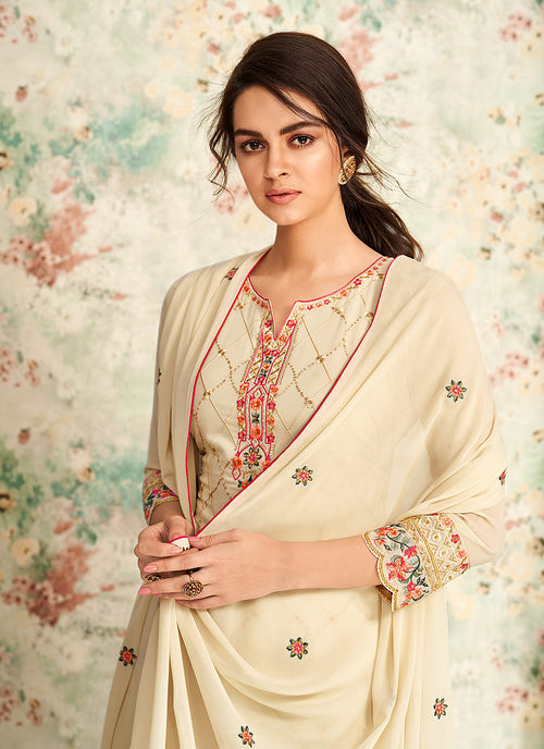 Indian Clothes - Off White Multi Embroidered Palazzo Suit