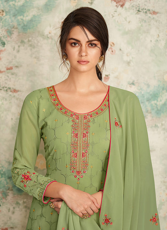Light Green Multi Embroidered Palazzo Suit