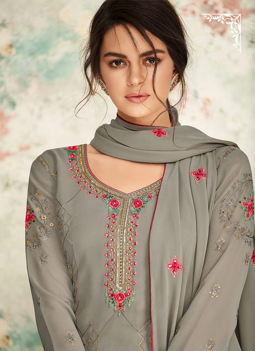 Indian Clothes - Light Grey Palazzo Suit In usa uk