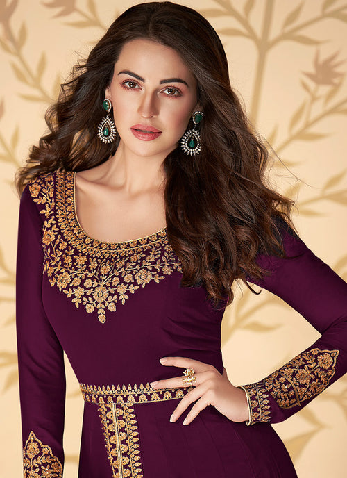 Wine Anarkali Pants Suit In usa uk canada