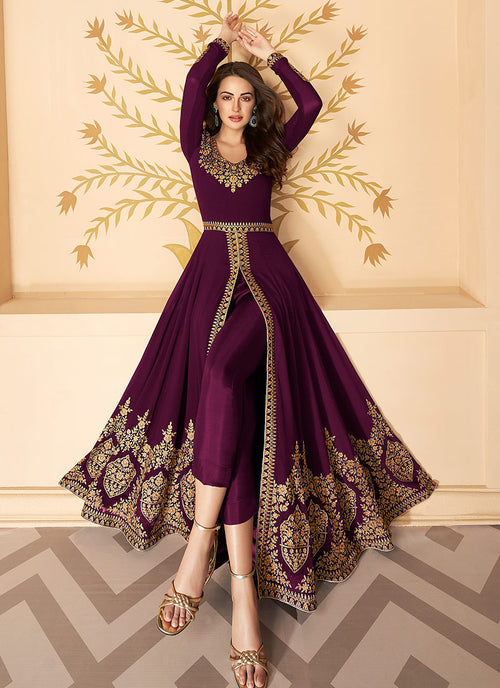 Wine Slit Style Zari Embroidered Anarkali Pants Suit
