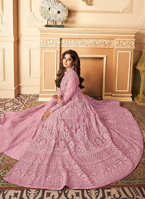 Indian Clothes - Pink Lucknowi Embroidered Anarkali Lehenga In usa uk canada