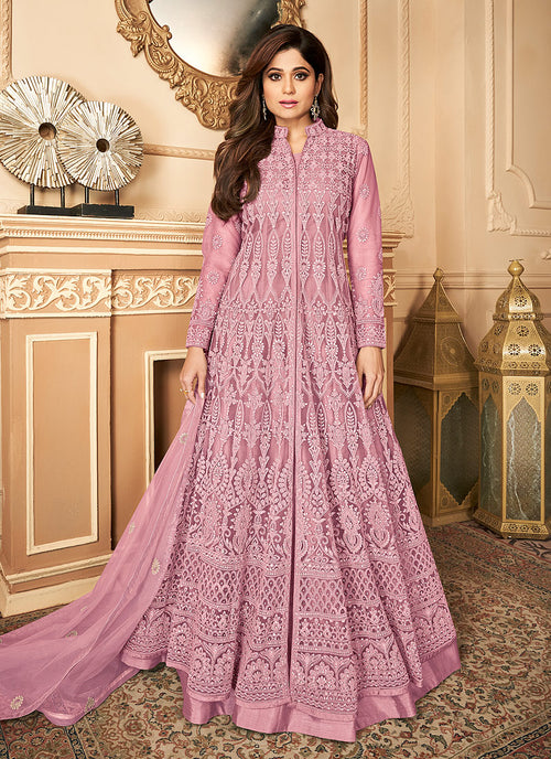 Pink Lucknowi Embroidered Anarkali Lehenga