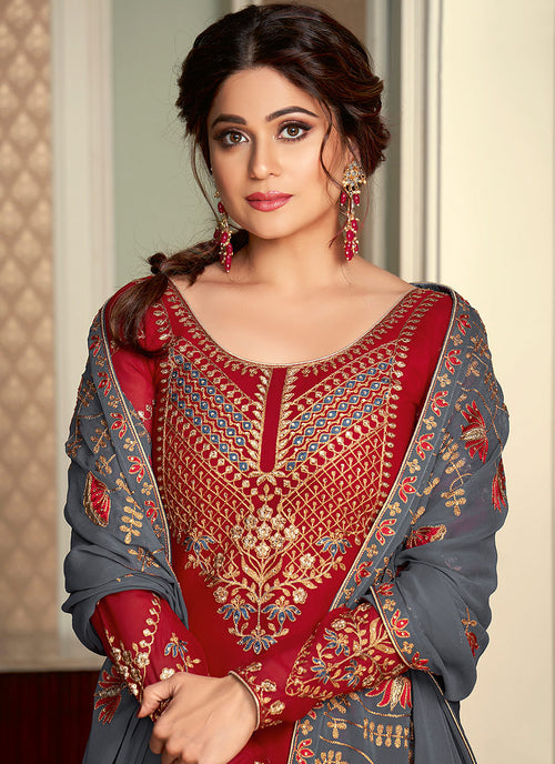 Red And Grey Lehenga Style Suit In usa uk canada
