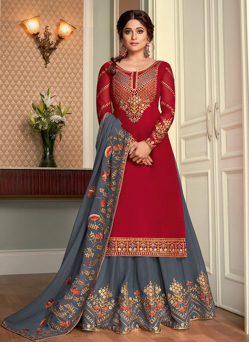 Red And Grey Embroidered Lehenga Style Suit