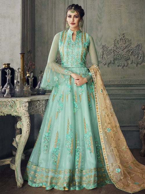 Aqua Blue And Gold Anarkali Lehenga Suit