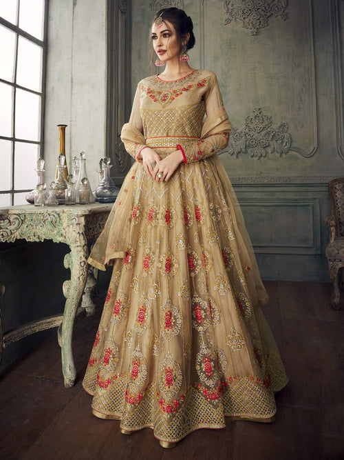 Golden Red All Over Anarkali Lehenga Suit