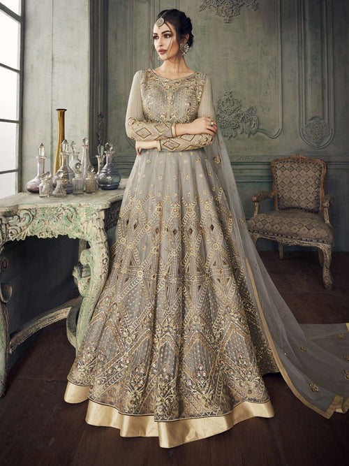 Grey Golden Traditional Anarkali Lehenga Suit