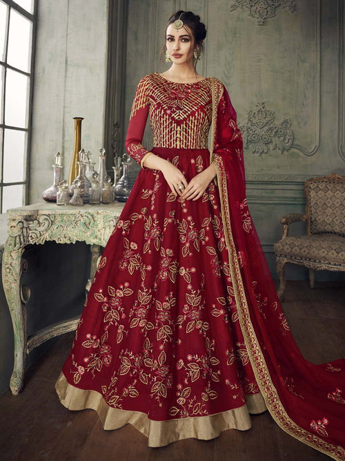 Red Golden Traditional Anarkali Lehenga Suit
