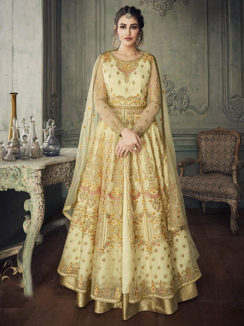 Light Yellow Traditional Anarkali Lehenga Suit