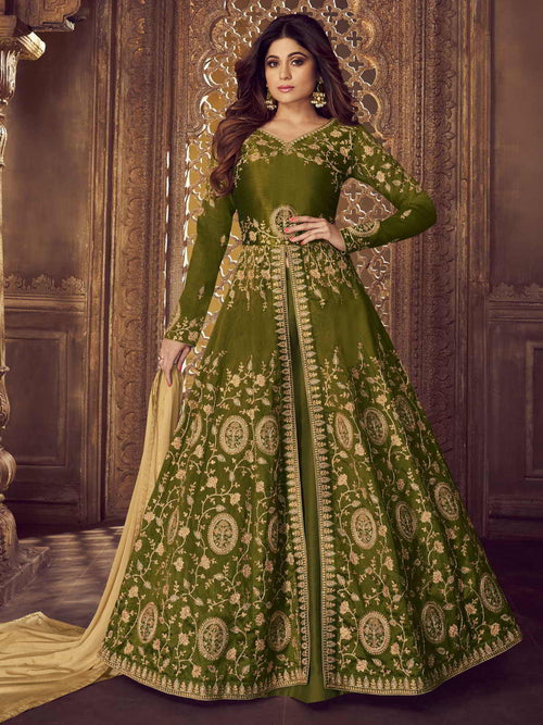 Olive Green Golden Anarkali Lehenga Suit