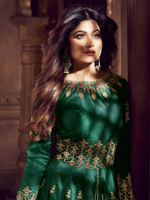 Dark Green Glam Traditional Anarkali Lehenga Suit