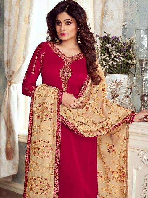 Pink And Creme Embroidered Churidar Suit