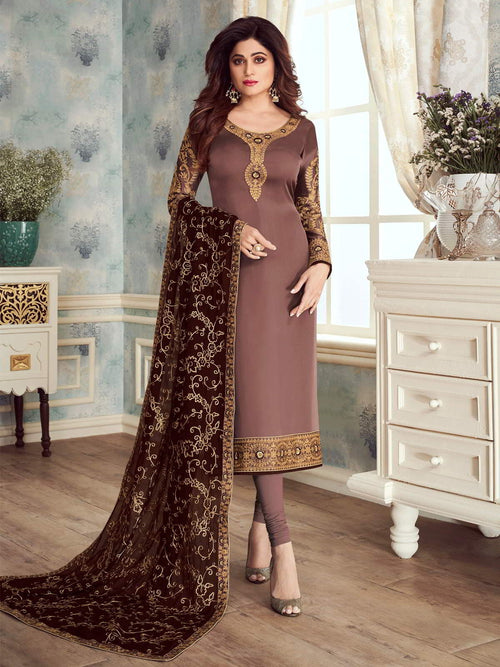 Brown Dual Tone Embroidered Churidar Suit