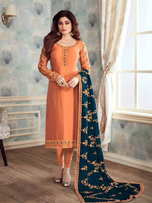 Orange And Blue Embroidered Churidar Suit