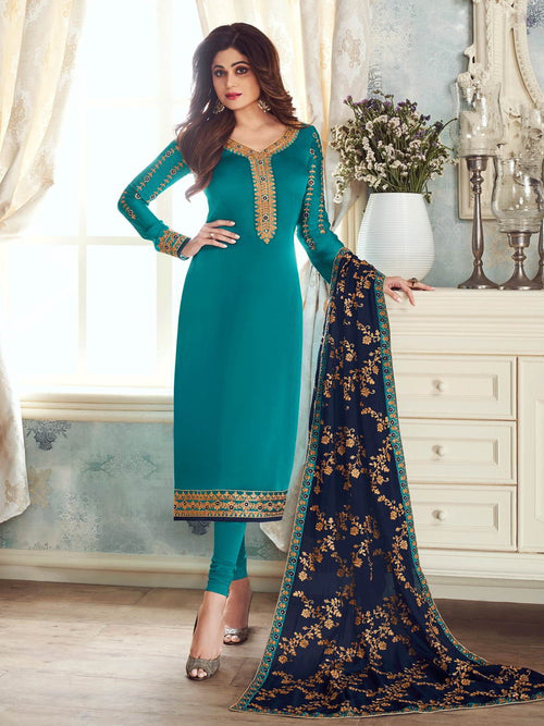Turquoise And Blue Embroidered Churidar Suit