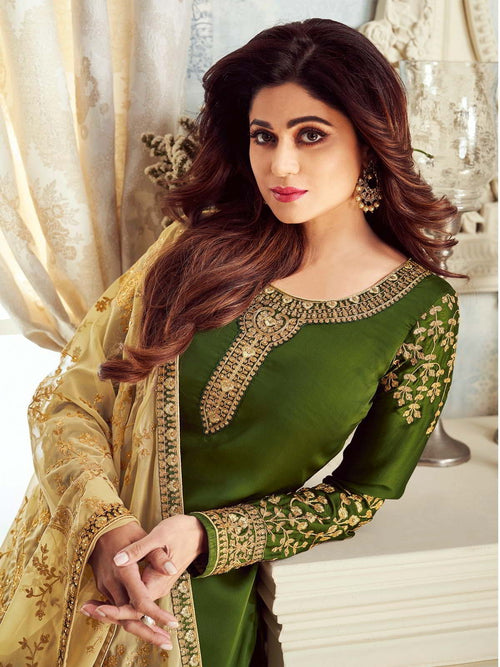 Green And Golden Embroidered Churidar Suit