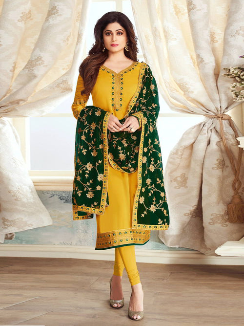 Yellow And Green Ethnic Embroidered Churidar Suit