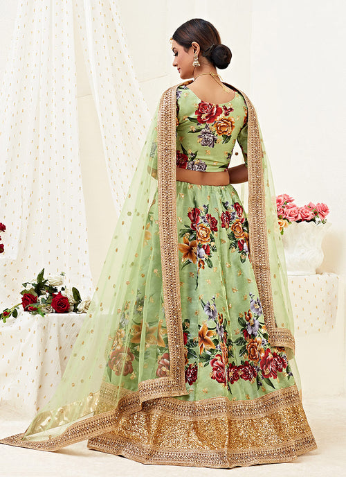 Pista Green Lehenga Choli In usa