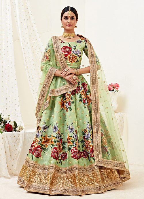 Pista Green Wedding Lehenga Choli