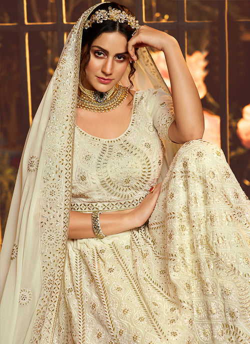 Indian Lehanga - Off White Wedding Lehenga Choli