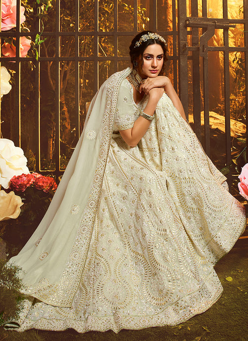 Indian Clothes - Off White Wedding Lehenga Choli