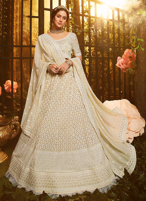 Off White Wedding Lehenga Choli