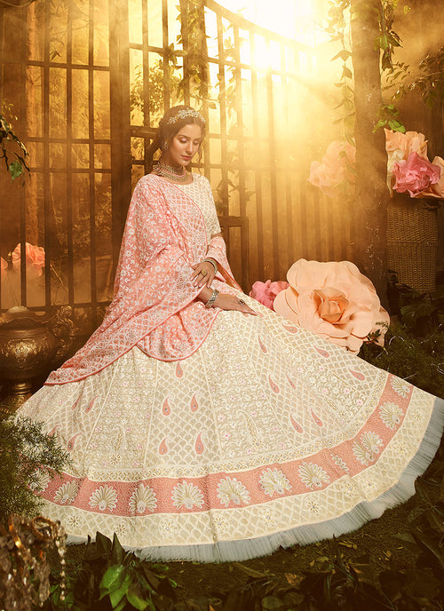 Indian Clothes - Creme And Pink Lehenga Choli In usa