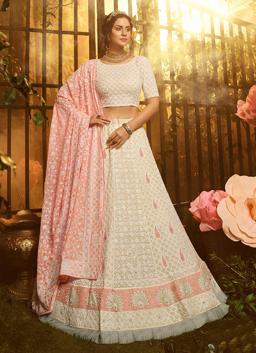 Creme And Pink Wedding Lehenga Choli