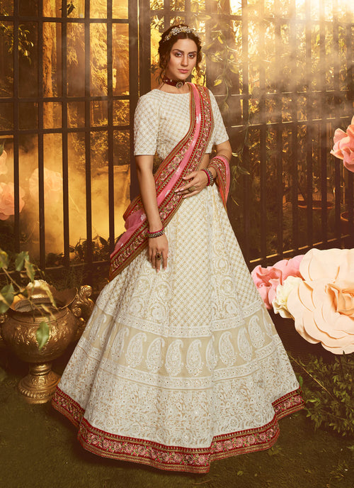 White And Pink Wedding Lehenga Choli