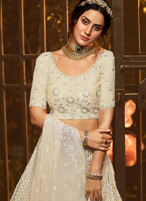Indian Lehenga - Creme White Wedding Lehenga Choli