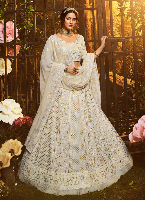 Creme White Wedding Lehenga Choli