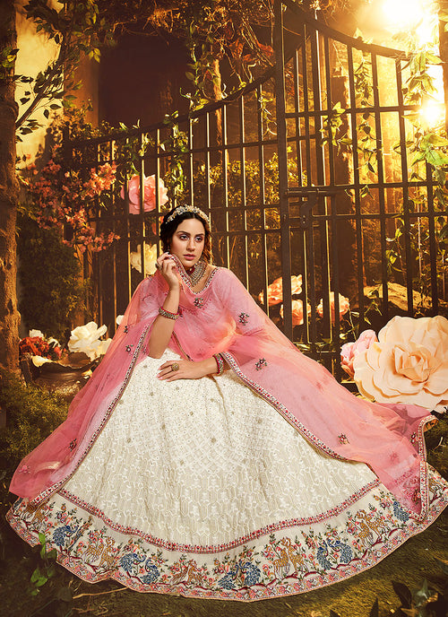 Indian Clothes - Off White And Pink Lehenga Choli In usa