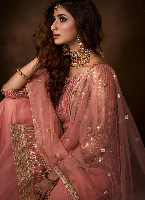 Indian Clothes - Peach Traditional Embroidered Gharara Suit