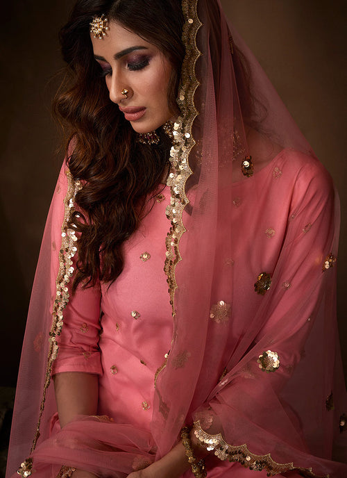 Indian Clothes - Pink Traditional Embroidered Gharara Suit
