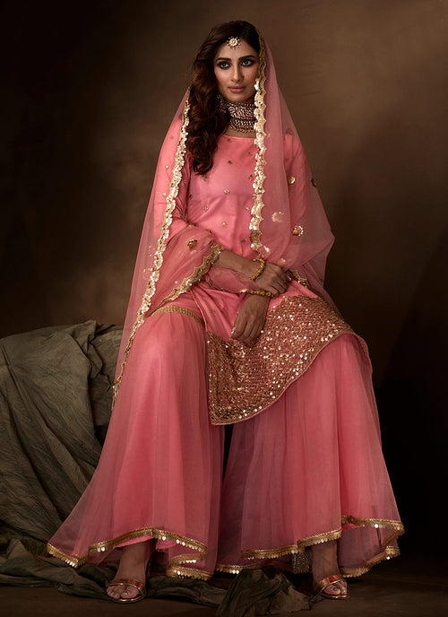 Indian Suits - Pink Gharara Suit In usa uk canada