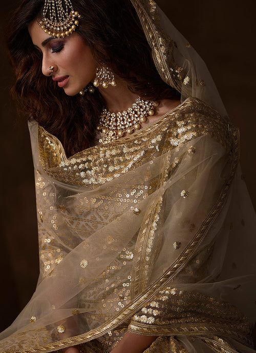 Indian Clohes - Golden Beige Traditional Embroidered Gharara Suit