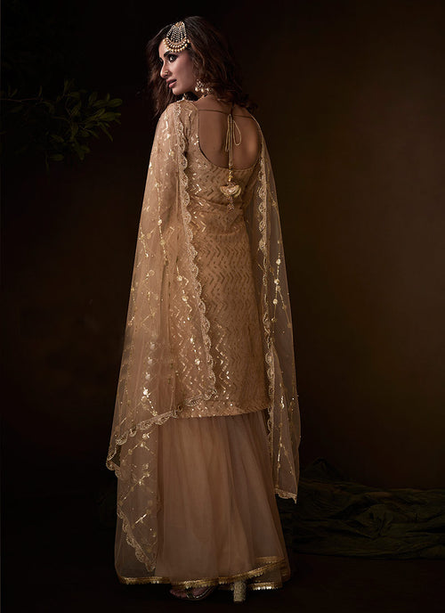 Indian Clothes - Beige Traditional Embroidered Gharara Suit