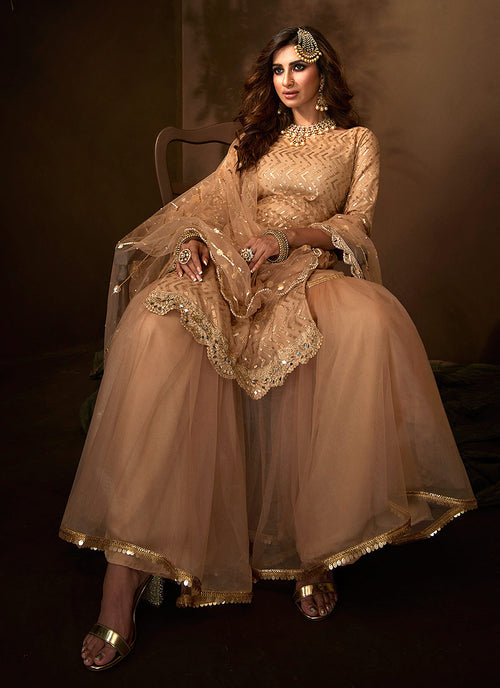 Indian Suits - Beige Gharara Suit In usa