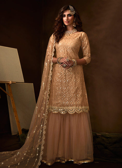 Beige Traditional Gharara Suit