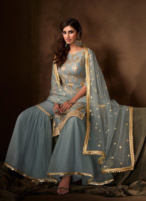 Indian Suits - Teal Blue Gharara Suit In usa
