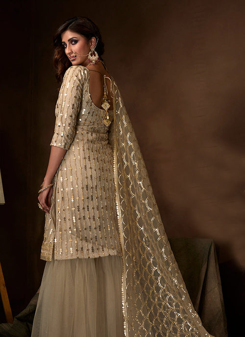 Indian Clothes - Off White Traditional Embroidered Gharara Suit