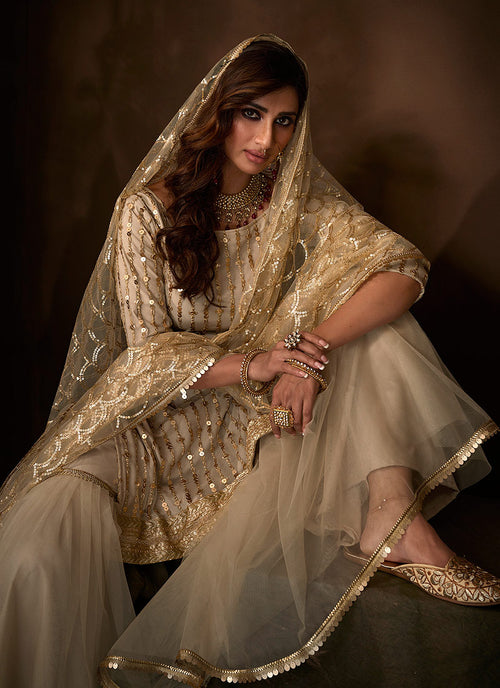 Indian Suits - Off White Gharara Suit In usa
