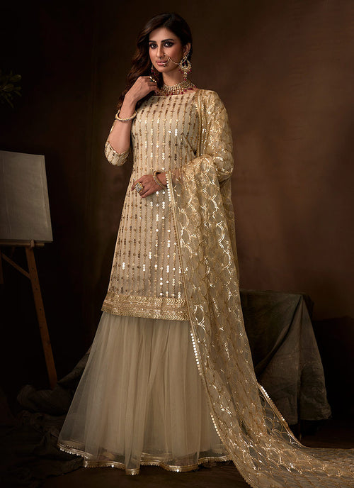 Off White Traditional Gharara Suit