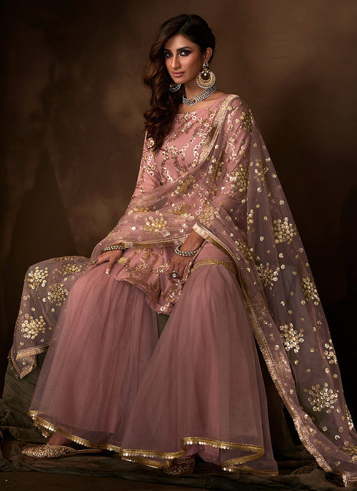 Indian Suits - Purple Gharara Suit In usa