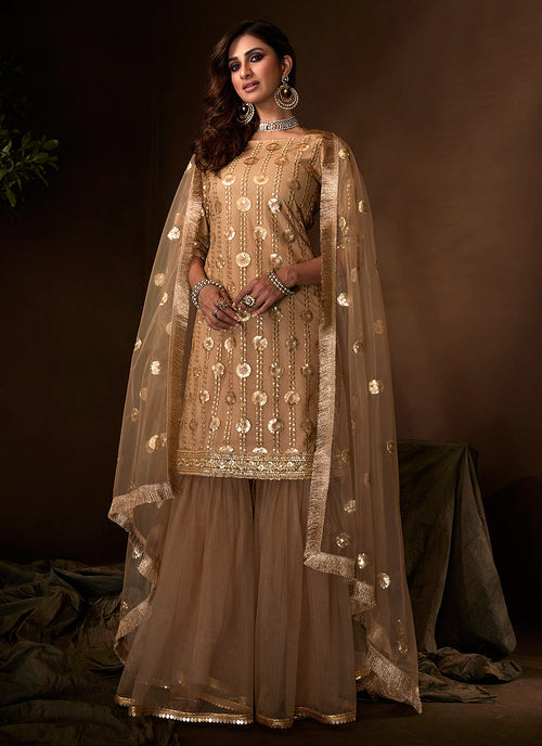Copper Embroidered Gharara Suit