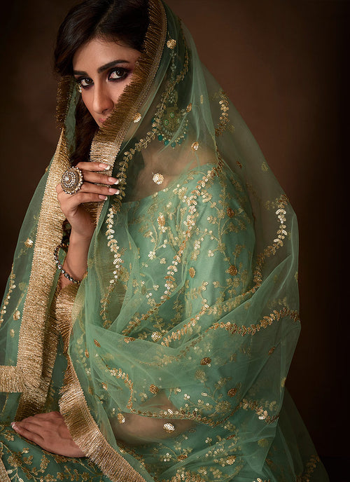 Indian Clothes - Mint Green Traditional Embroidered Gharara Suit