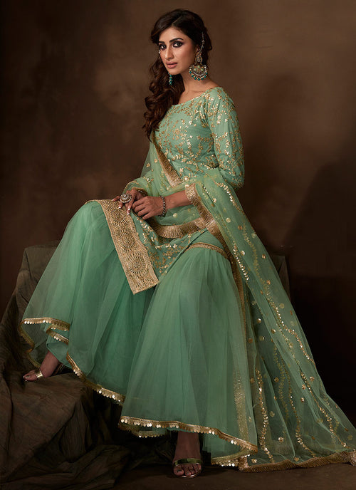Indian Suits - Mint Green Gharara Suit In usa